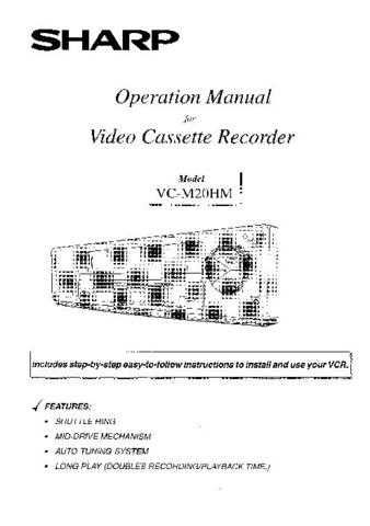 Sharp VCM20HM Video Recorder Operating Guide Version 1 by download Mauritron #306528