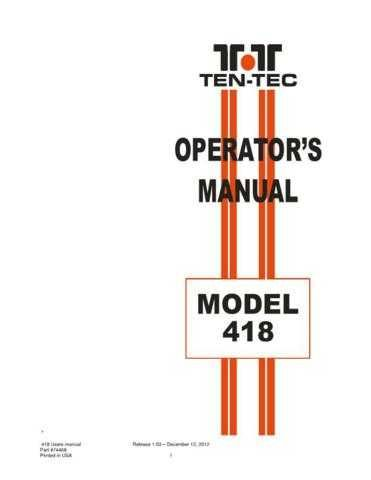 Ten Tec 418 MANUAL 74468 RELEASE 103 by download Mauritron #333085
