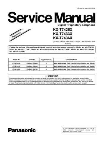 Panasonic T7425X_SUP6_7433X_7436X_SUP8 Manual by download Mauritron #301771