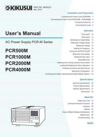 Kikusui PCR500M Operating Guide by download Mauritron #337678