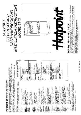 Hotpoint HB6512 Operating Guide by download Mauritron #312050
