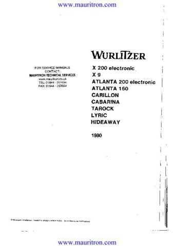 Wurlitzer Lyric Manual by download Mauritron #312282