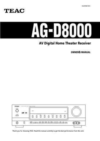 Teac AGD8000ED Operating Guide by download Mauritron #318278