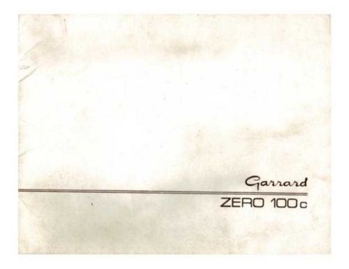 vinylengine garrard zero100c Manual by download Mauritron #312699