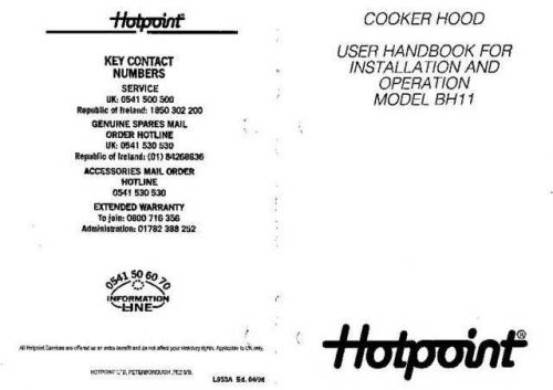 Hotpoint BH11 Operating Guide by download Mauritron #311880
