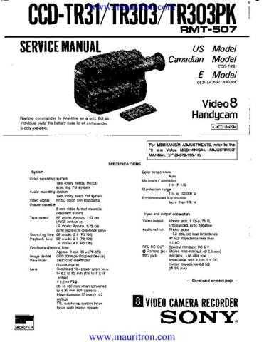 SONY. CCD-TR303 by download Mauritron #315174