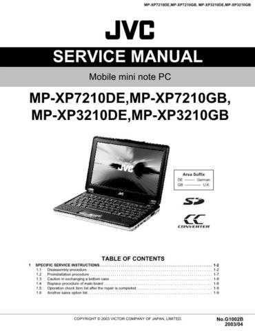 JVC JVC-MP XP7210GB MPXP7210GB Service Manual by download Mauritron #281738