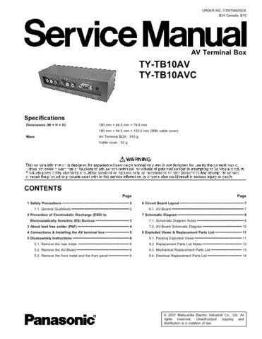 Sharp TY-TB10AV Manual by download Mauritron #298641