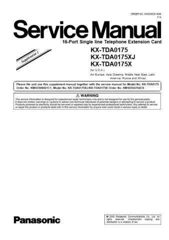Panasonic TDA0175_XJ_XSUP1 Manual by download Mauritron #302185