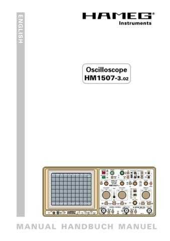 Hameg HM1507 3 Operating Guide by download Mauritron #307145