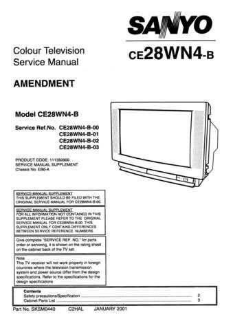 Sanyo. CE28WN4-B-00 SM Manual by download Mauritron #312608