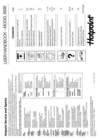 Hotpoint 9938 Laundry Operating Guide by download Mauritron #313454