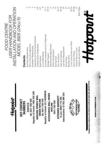 Hotpoint 8925 Refrigeration Operating Guide by download Mauritron #313373