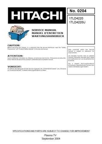 Hitachi 17LD4200 Service Manual by download Mauritron #287594