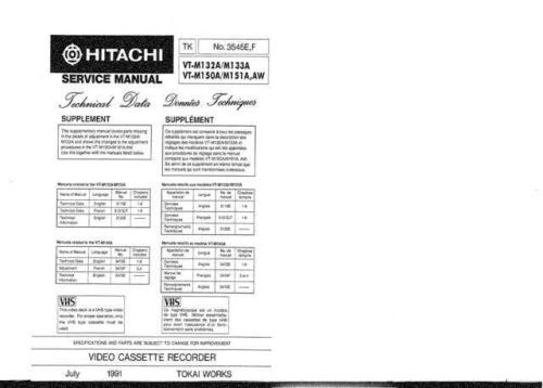 Hitachi VTM151A2 Service Manual by download Mauritron #285836