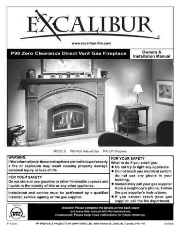 Excalibur P90 Fireplace Operating and Installation Manual by download Mauritron #3070