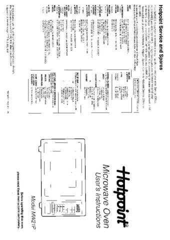 Hotpoint MW21P Microwave Oven Operating Guide by download Mauritron #309944