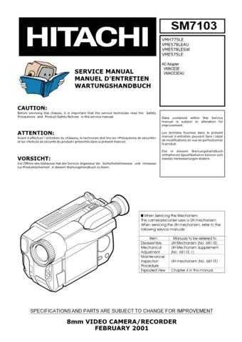 Hitachi VMH59A1 Service Manual by download Mauritron #286950