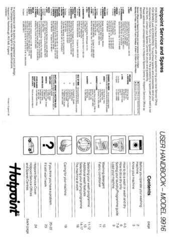 Hotpoint 9916 Washer Operating Guide by download Mauritron #307452