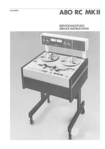 Studer A80R Operating Guide Service Manual by download Mauritron #313192