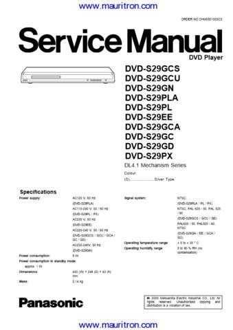 Panasonic S29 Manual Manual by download Mauritron #312568