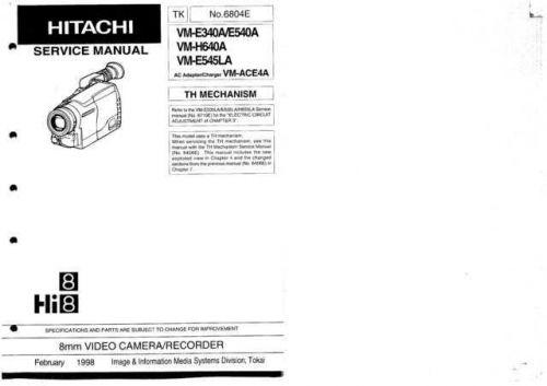 Hitachi VM2250A Service Manual by download Mauritron #290961