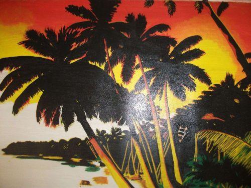 Tropical Beach Painting Print canvas unframed. finishd off by hand. original