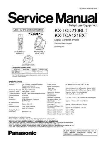 Panasonic TCD210BL Manual by download Mauritron #301961