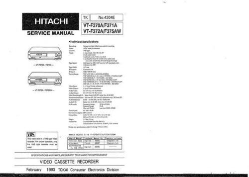 Hitachi VTF571AW Service Manual by download Mauritron #285737