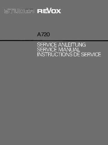 Revox A720 Service Manual by download Mauritron #312190