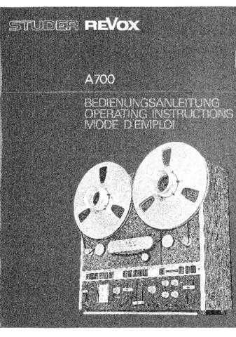 Revox A700 Operating Guide by download Mauritron #312186