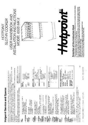 Hotpoint HB6505 Operating Guide by download Mauritron #312047