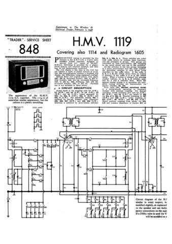 HMV. 1119. VINTAGE WIRELESS. SERVICE SHEETS. Manual by download Mauritron #312324