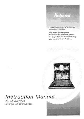 Hotpoint BFI620 1950416603 Dishwasher Operating Guide by download Mauritron #313497