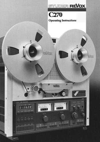 Revox C270 Operating Guide E by download Mauritron #313045