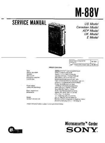 Sony M88V Service Manual by download Mauritron #306555