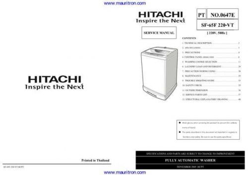 Hitachi SF65F Manual Manual by download Mauritron #312307