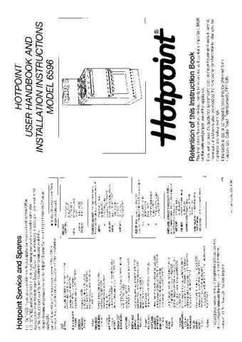 Hotpoint HB6596 Operating Guide by download Mauritron #312057