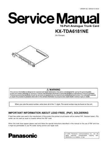 Panasonic TDA6181NE Manual by download Mauritron #302229