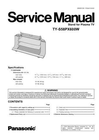 Panasonic TY-S42PX600W Manual by download Mauritron #302554