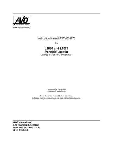 AVO L1071 Operating Guide by download Mauritron #309093