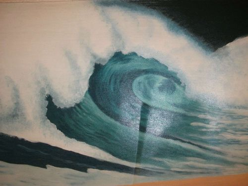Wave Surf Print Painting canvas. finished off by hand. sale ends march 9th.