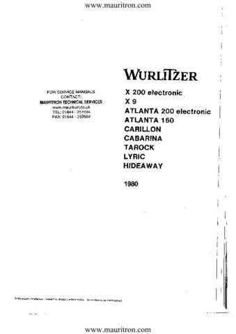 Wurlitzer Carillon 1980 Version by download Mauritron #329022