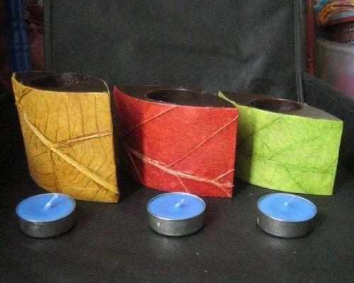 THAI CRAFT VINTAGE TEALIGHT HOLDER CANDLE STICK 3 STUNNING WOOD NATURAL LEAF