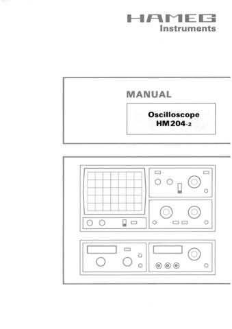 Hameg HM204-2 Operating Guide by download Mauritron #307162