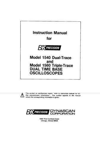 B & K 1540 1560 Oscilloscopes Instruction Manual by download Mauritron #306857