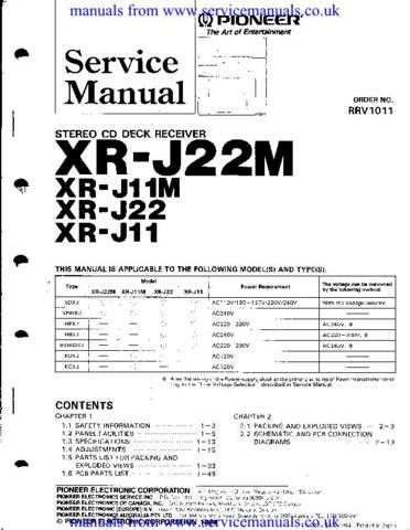 MANUAL Pioneer XR-J22 (RRV1011) by download Mauritron #306104