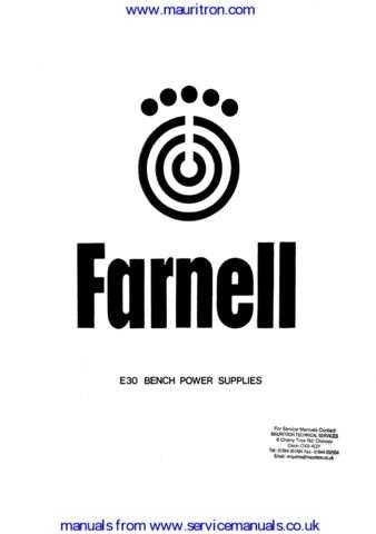 Farnell E30 Series by download Mauritron #307091