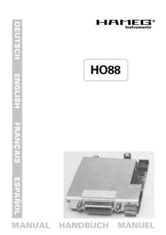 Hameg HO88 Operating Guide by download Mauritron #307311