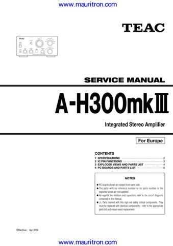 Teac AG-H300mk3 Service Manual by download Mauritron #327173